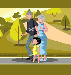 grandparents with grandchildren walking vector image