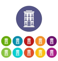 Hotel building set icons vector image vector image