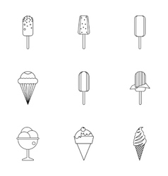 Ice cream icons set outline style vector