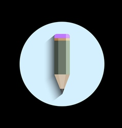 Icon of stylized pencil with shadow vector image vector image