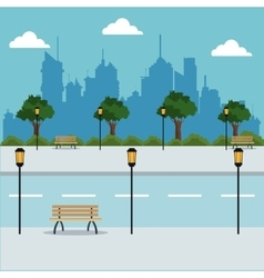 Landscape road trees lanterns city background vector