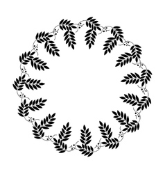 Laurel wreath circle tattoo black stylized vector