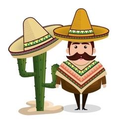 Man mexican hat cactus graphic vector