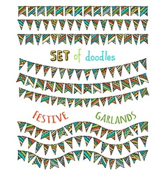 Set of bright festive bunting and garlands vector