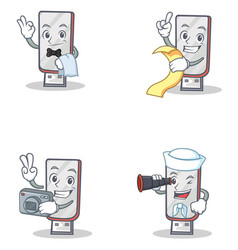 Set of flashdisk character with waiter menu vector