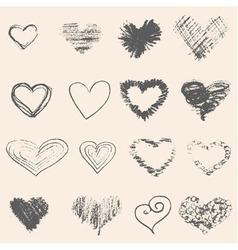 Set of grey heart sketch vector