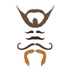 set of hipster retro hair style mustache vector image