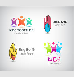 Set of kids logos support care of vector