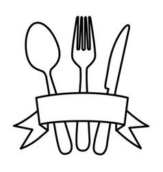 Silhouette cutlery kitchen elements with ribbon vector