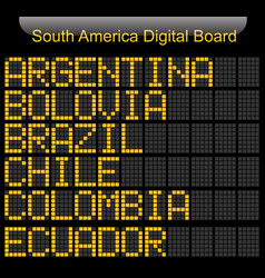 South america country digital board information vector