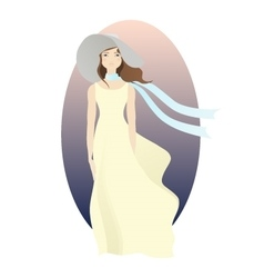Stylish woman with fashion hat and scarf vector image
