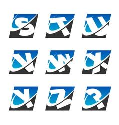 Swoosh sport alphabet logo icons set 3 vector