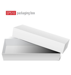 White blank box opened with the cover removed vector