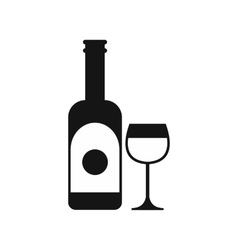 Wine and glass icon simple style vector
