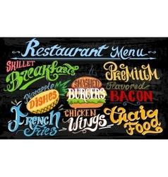 Retro vintage style fast food design lettering vector