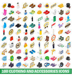 100 clothing and accessories icons set vector image