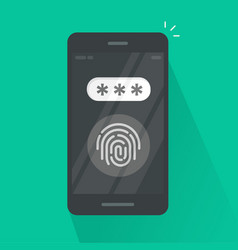 Smartphone with fingerprint button and password vector