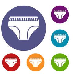 Woman cotton panties icons set vector