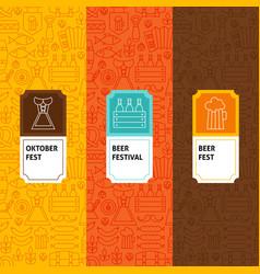 Line oktoberfest patterns set vector
