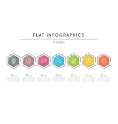 Flat style 7 steps timeline infographic template vector