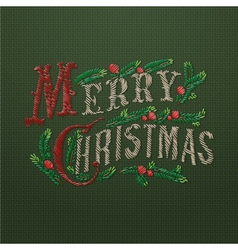 Embroidered merry christmas card vector