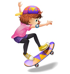 An energetic young woman skateboarding vector