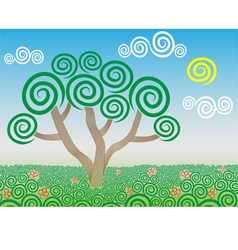 Tree in the field vector