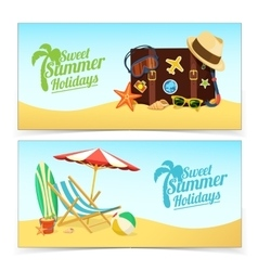 Summer travel banners vector