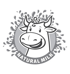 Fresh natural milk emblem vector