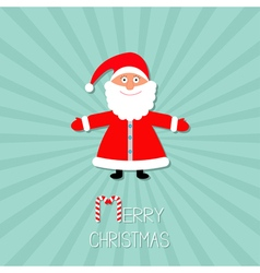 Cartoon santa claus sunburst blue background stick vector