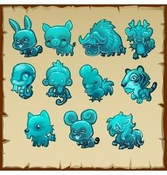 Figurines various animals made of aquamarine vector image