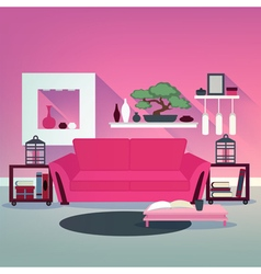 Modern Living Room Interior in Asian Style vector image