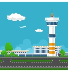 Runway at the airport with control tower vector