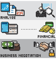 Digital pixel financial design concept vector