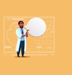 african american doctor with chat bubble medical vector image vector image