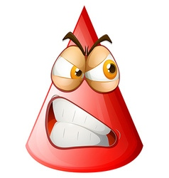 Angry face on cone vector