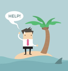 Businessman need help on the small island vector image vector image