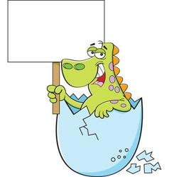 Cartoon dinosaur holding a sign vector