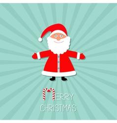 Cartoon santa claus sunburst blue background stick vector