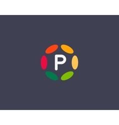 Color letter p logo icon design hub frame vector