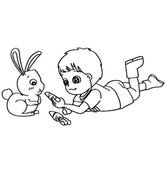 Coloring book child feeding rabbit vector