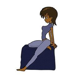 Comic cartoon pin up pose girl vector