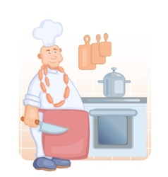 cook with knife vector image
