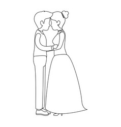 cute couple just married kissing vector image vector image