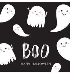 cute halloween ghosts card vector image
