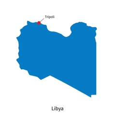 Detailed map of Libya and capital city Tripoli vector image
