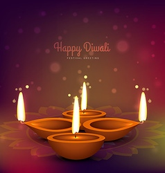 Diwali diya place on colorful background design vector