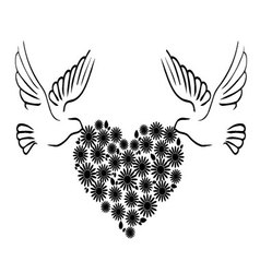 doves with heart 2 vector image vector image
