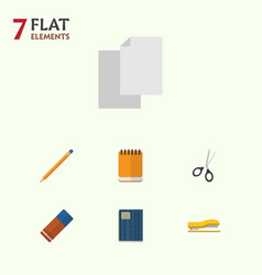 Flat icon equipment set of notepaper clippers vector