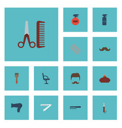 Flat icons moustache hairbrush perfume and other vector